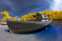 Kabu island shipwreck in InfraRed. (Kamaruz Zaman) Tags: colour canon colours view infrared colourful canonphotography artofnature infraredcolour canon7d autumninfrared autumnbyazamalwi