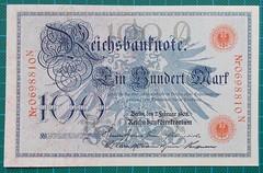 1908-REICHSBANKNOTE-100-MARK-0698810N-OBVERSE-37-D19 (noteworthycollectibles) Tags: germany paper deutschland mark silk imperial currency banknote notgeld seiden pfennig hyperinflation badische reichsbank emergencymoney darlehnskasse