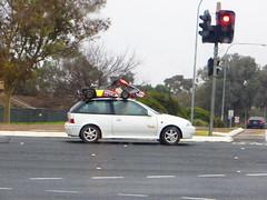 Go-Kart on a car's roof! (RS 1990) Tags: car july adelaide intersection 30th thursday southaustralia gokart 2015 modbury ridgehaven northeastrd goldengroverd