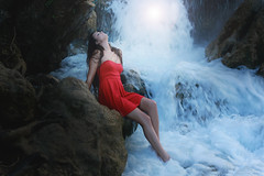 Teardrops (Meho Tabakovic) Tags: blue red woman water fashion model dress waterfalls