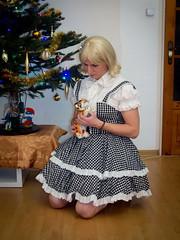 Christmas girl (blackietv) Tags: black white lolita dress gown blouse petticoat lace frilly hellbunny christmas tree tgirl transvestite crossdresser crossdressing transgender