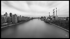"""Calm Waters"" (36D VIEW) Tags: canon eos queens manhattan samyang 14mm eosm blackandwhite blackwhite black white buildings view water monochrome grayscale"