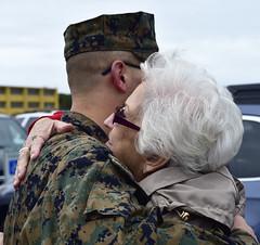 Carole hugging Scott (Jon_Marshall) Tags: scott marines marine bootcamp graduation carole marinecorpsrecruitdepot sandiego mcrd