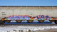 Merk/Lae (quiet-silence) Tags: graffiti graff freight fr8 train railroad railcar art merk lae bks trk mta hopper cefx76339 cefx
