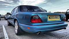 Jaguar XJR. (ManOfYorkshire) Tags: jaguar xjr petrol 1994 southyorkshire transportmuseum turqoise metallic rear boot m233rkj alloys exhaust chrome twin