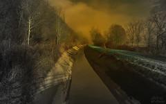 Approaching Fog (KF-Photo) Tags: brückenschatten fluchtpunkt fog kanal nebel neckartal selektivefarbe farbvariation farbspiel surreal