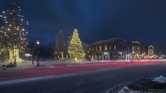 Blustery Breck (Explored December 31, 2016) (Rajesh Jyothiswaran) Tags: blueriverplaza breckenridge cityscape colorado fe1635f4 ilce7rm2 longexposure santaclaus traffic trails wonderland christmas city cold downtown holiday lights rockies ski snow snowstorm tree windy winter