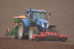 New Holland T7030 Tractor with a Twose Front Press, an Amazone AD-P Super 2000 Seed Drill & Power Harrow