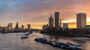 City of London on a lovely Friday morning (Dave Pearce (London)) Tags: london city dawn sky sun itv walkie talkie clouds skyline blackfriars river thames boats hdr 1635l 1635 f4 shard gherkin oxo tower
