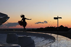 Sunset comes floating towards me (Sus Blanco) Tags: sunset colors orange clouds selfportrait dancingwithlight ballerina sky barcelona beautiful