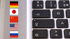 Keyboard and flag icons (Ervins Strauhmanis) Tags: computer keyboard apple macbookpro mbp mac button key letter capslock tab qa q a input flag icon country language germany japan china usa russia