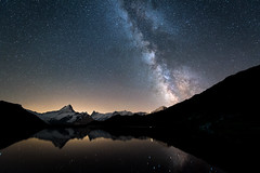 Bachalpsee (mainone) Tags: milkyway nature lake berneroberland mainone bachalp grindelwald nightphotography first bachalpsee sky night landschaft mirror stars mountains christiangehrig swiss wetterhorn bergsee eiger natur longexposure landscape swissalps see mountain clearsky star milchstrasse alpen suisse schweiz 1424mm schreckhorn