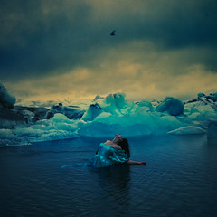 frozen in time (brookeshaden) Tags: selfportrait bird ice water photography iceland fineart dramatic freezing midnight conceptual glacierbay eternalsunshine frozenintime bluedress girlinwater brookeshaden
