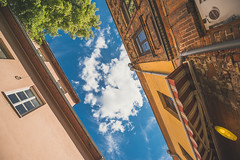 Clouds | Kaunas Old Town #162/365 (A. Aleksandraviius) Tags: old travel blue summer sky white window oneaday lines wall architecture clouds town nikon day angle wide photoaday 365 nikkor chill lithuania pictureaday kaunas lietuva 2015 project365 365days 1424 skliautas d810 dayphoto daypicture 162365 nikond810 1424mm 365one 3652015