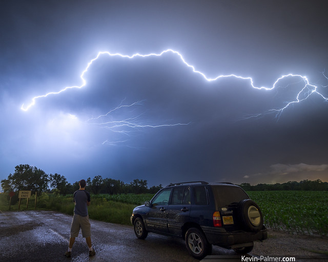 road longexposure blue summer selfportrait green car june night dark illinois spring cornfield streak bolt strike thunderstorm lightning thunder deadend severe pekin electricalstorm chevytracker kevinpalmer pentaxk5 samyang10mmf28