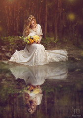 Midsummer's Dream ({jessica drossin}) Tags: flowers wedding portrait woman lake reflection art lady forest lights bride moss pond alone dress fine imagination bouquet magical enchanted fireflies jessicadrossin wwwjessicadrossincom jdbeautifulworldcollection