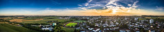Bitburg (byteorder) Tags: street sunset sky panorama color building green yellow architecture contrast forest germany de landscape deutschland boot boat sonnenuntergang traffic kultur wiese culture himmel wolken haus aerialview eifel gelb archi