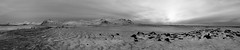 As evening settles on the Ice Planet (lunaryuna) Tags: iceland westiceland snaefellsnespeninsula snaefellsjokull volcano glacier landscape panorama sunset sundown lightmood thelightfantastic sky clouds winter season seasonalwonders snow ice textures nature beauty lunaryuna blackwhite bw monochrome