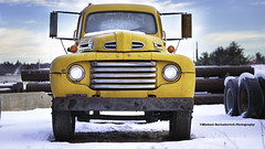 Old Yellow...Ford (Michael Bartoshevich) Tags: ford yellow pickup truck winter snow headlights grill canon 5d january