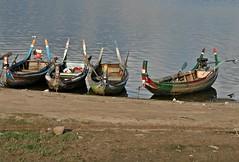 Mandalay - Amarapura - Lake Taungthaman -  Traditional Boats (zorro1945) Tags: amarapura myanmar burma asia asie mandalay laketaungthaman boats traditionalboats fishingboats colours lake water