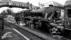 Steam-train B&W (draco-man2) Tags: bw train landscape geotagged scenery scenic handheld steamtrain hampshireuk newalresford pse10 lightroom4 sonyrx100mk2 googleniksoftware