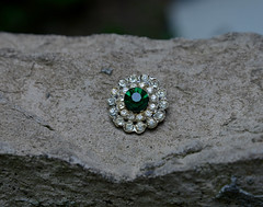 I Want an Emerald Like THIS! (BKHagar *Kim*) Tags: green glass vintage costume shiny jewelry button rhinestone emerald bkhagar