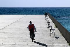 Quanto è profondo il mare (meghimeg) Tags: shadow sea sky sun man bike fence bench square mare ombra uomo cielo bici sole piazzale bicicletta panchine 2015 ringhiera flickerland