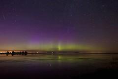 July 14 morning sky (John Andersen (JPAndersen images)) Tags: trees night reflections stars pond alberta aurora meteor