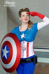 IMG_6303 (Neil Keogh Photography) Tags: blue red white female america stars cosplay stripes corset shield captainamerica marvelcomics jumpsuit utilitybelt mcmcomicconmanchester2015