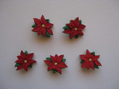 Poinsettias (ONE by one) Tags: red buttons button material poinsettias supplies