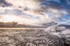 Lomma pir (Joqe) Tags: ocean bridge sea seagulls storm pier skne waves sweden sverige bro malm hav pir resund lomma vgor msar