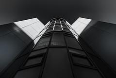 Aufstieg (tan.ja1212) Tags: cologne mediapark köln monochrom fassade front windows fenster treppe stairs schatten shadow himmel sky glas glass