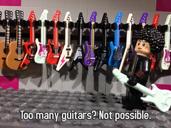 """Why do you need so many?"" (woodrowvillage) Tags: lego guitar minifigure mini figure rocker music musician store acoustic electric fender gibson flying v strat stratocaster les paul hendrix clapton jimmy page led zeppelin hard metal rock afro star wars legos moc shop display instruments six string"