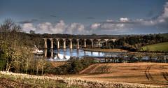 Colours of Winter (suerowlands2013) Tags: rivertiddy riverlynher viaduct railwayline train cornwall fields winter stgermansquay aonb