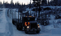 Barker Logging (jr-transport) Tags: kenworth w900 logging heavy winter ontario barker daycab