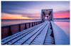 Derelict Train Bridge at Dawn (Fundy Rocks) Tags: trainbridge derelict snow reflection sunrise dawn colours cloudsstormssunsetssunrises novascotia hortonville gaspereauriver tracks railroad rust