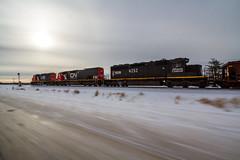Cruising Along the Iron Range (Ryan J Gaynor) Tags: dmir ironrange illinoiscentral canadiannational cn pace ultrawideangle winter sky blur highway drive