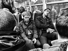 Day 24. Nice talking to you. (Rob Emes) Tags: commute commuter travel train headphones sleep iphone iphone6 iphoneography 365 london street bw black mono