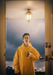 27/365 (Chris Gray Photo) Tags: people outdoor clouds overcast storm rain raincoat yellow sky door frontdoor light self portrait portraiture selfportrait conceptual fineart canon 50mm 365project