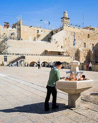 20140404KW_IP_Wailin#A78E2C (kevinwenning) Tags: jerusalem israel wailingwall pots square copper jew fountain leaning religion jewish boy courtyard