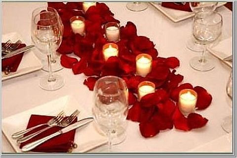 rose petals long table photo by Wedding or Party Decorations from ...