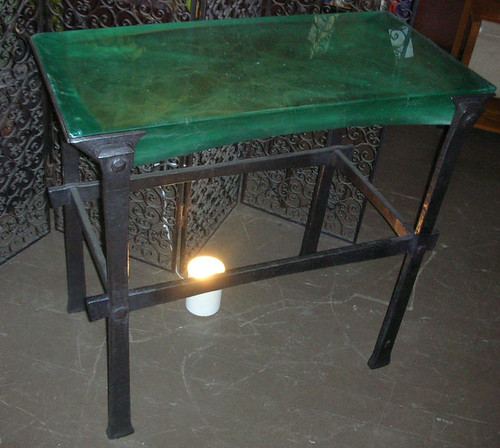 cast glass & wrought iron table1
