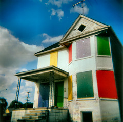 Rainbow CrackHouse (stOOpidgErL) Tags: street blue sky urban house color abandoned 120 film home topf25 clouds analog mediumformat square toy holga rainbow lomo lomography topf50 colorful decay michigan urbandecay detroit toycamera vivid bluesky 100v10f ishootfilm plasticfantastic 120film 500v50f urbanexploration squareformat abandonedhouse blueskies derelict plasticcamera top40 crackhouse urbex beautifulday crappycamera fantasticplastic holgagraphy craptastic plasticlens fluffyclouds mexicantown colorfilm beautifulhome holgacolor colorholga holgacfn crapcamera lomgraphy stoopidgerl mextown rainbowcrackhouse mytop40 detroitssacredplaces