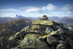 Making our own mountains (gms) Tags: blue mountain scotland highlands scenery rocks view peak summit benlomond cairn munro benvenue specland