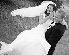 happy (originalmulli (naomi)) Tags: wedding bw white groom bride veil candid young marriage laughter breeze reportage 123bw