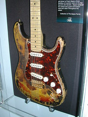 One of Jimi Hendrix's flamed Stratocasters at the Petersen museum, Los Angeles. (Eleventh Earl of Mar) Tags: fluid flame burn hendrix lighter stratocaster overrated
