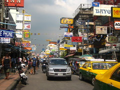Khao San Road in the daytime (Sarah Ann Wright) Tags: road travel travelling sign thailand san asia southeastasia bright taxi backpacker khao khaosan khaosanroad