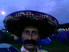 Gringo (s0ulsurfing) Tags: cameraphone party me hat festival nokia tents crazy eyes funny lofi moustache sombrero fancydress gringo bestival lores tash s0ulsurfing