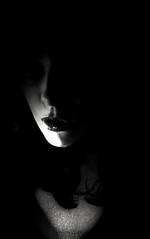 Selfportrait (mhatilda) Tags: portrait bw woman selfportrait love face k photoshop canon dark photo autoportrait emotion profile vanity fantasy feeling monday stupidity