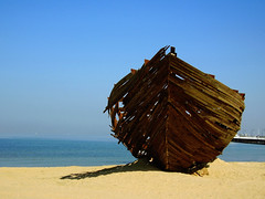 Shipwreck (Edward Hoover) Tags: ocean wood sculpture beach wow pier boat sand australia melbourne victoria shipwreck vic stkilda woodensculpture woodboat woodsculpture auspctagged interestingness88 i500 scoreme40 ladyofstkilda udmin